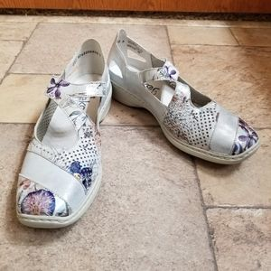 Rieker Silver Metallic Floral Mary Jane Shoes 38